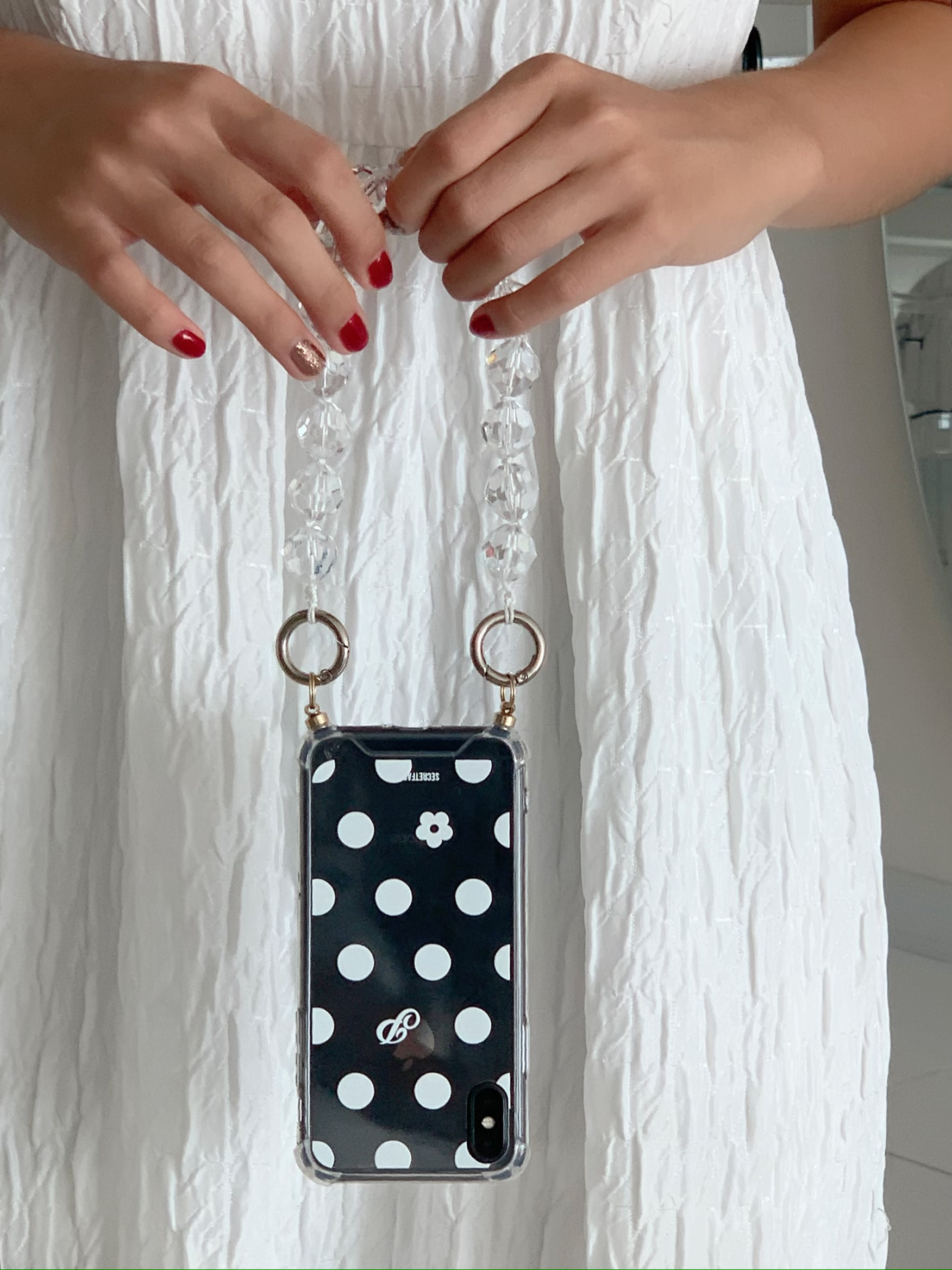 Polka Dot [ White : Strap Case ]